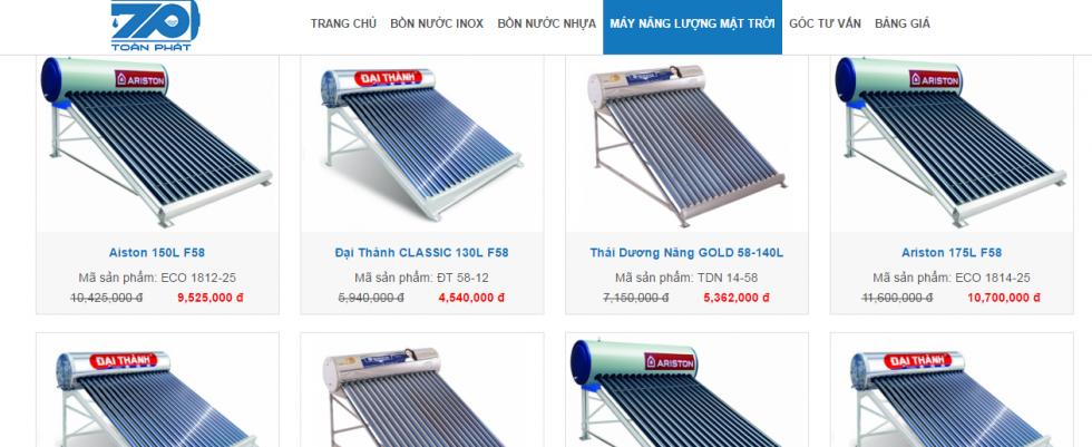 Sản phẩm máy nước nóng năng lượng mặt trời Toàn Phát